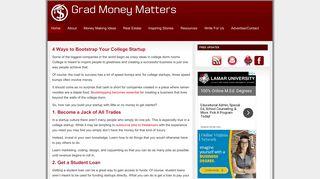 Guest Post on Gradmoneymatters